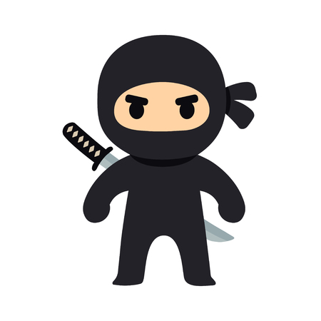 Cartoon ninja drawing in chibi manga style. Cute vector illustration.  イラスト・ベクター素材