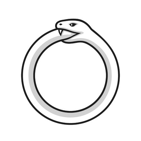 Ouroboros symbol, snake eating its own tail. Modern alchemy logo, vector illustration. Illustration