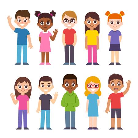 Verzameling van cute diverse cartoon kinderen. Internationale groep kinderen, vectorillustratie. Vector Illustratie