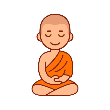 Buddhist monk in orange robes sitting in meditation. Cute cartoon tibetan monk meditating vector illustration.