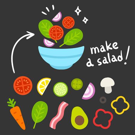 만화 야채 샐러드 그릇을 만들기 위해 설정합니다. 음식 성분 생성자 아이콘입니다. 평면 디자인 벡터 일러스트 레이 션.