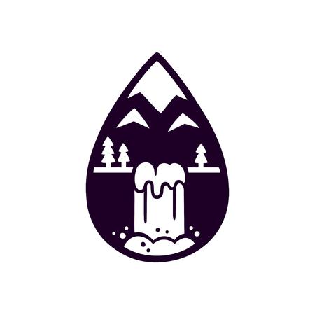 양식에 일치시키는 산 및 물 방울의 모양에 폭포 로고. 자연 벡터 일러스트 레이 션, 흑백 실루엣.