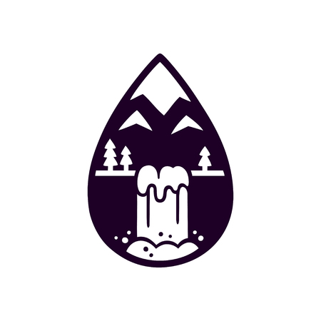 Stylized mountain and waterfall logo in shape of drop of water. Nature vector illustration, black and white silhouette.