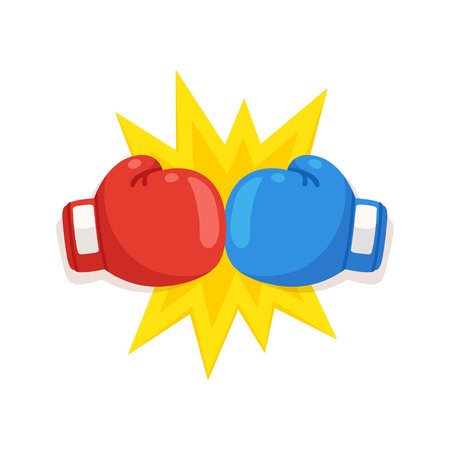 Boxing gloves fight icon, red vs blue. Battle emblem cartoon vector illustration. Illustration