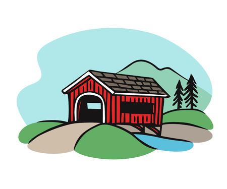 Covered bridge illustration. Classic rural american bridge drawing in vintage style.