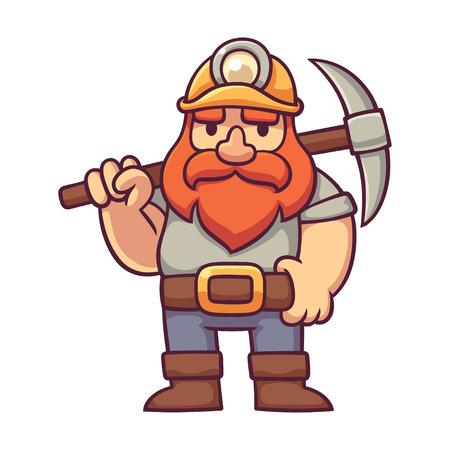 Minatore di nani in stile comico. Gnome barbuto di cartone animato con pickaxe, illustrazione vettoriale di design di carattere fantasy.