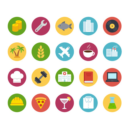 Big icon set of business and professions. Industry and service, food and production. Flat cartoon bright color vector icons.