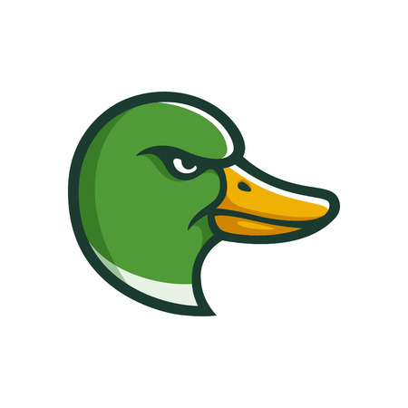 Angry Mallard duck head illustration in cartoon comic style. Sports team mascot or logo.