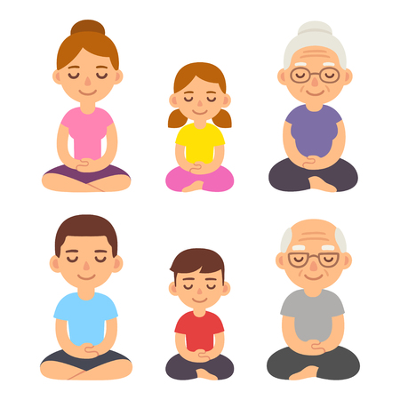 Family meditating sitting in lotus pose, children, adults and seniors. Cute cartoon meditation and mindfullness lifestyle illustration. Vettoriali