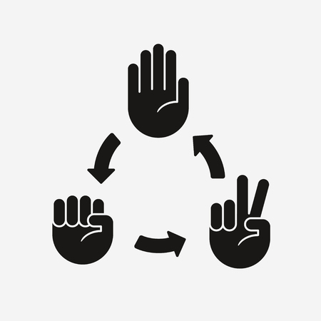 Rock Paper Scissors game diagram. Hand icons with arrows showing which gesture wins.