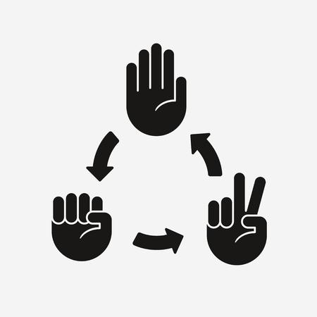 Schemat gry Rock Paper Scissors. Ikony dłoni ze strzałkami wskazującymi, który gest wygrywa. Ilustracje wektorowe