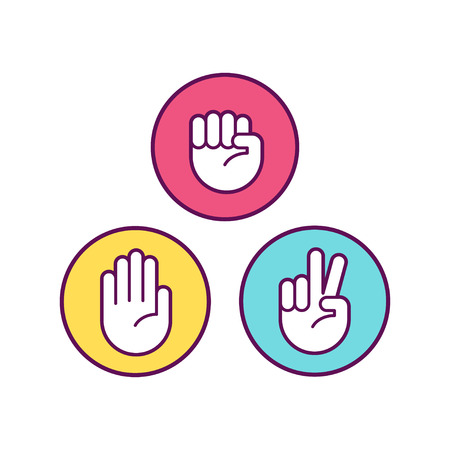 Rock Paper Scissors icons. Isolated vector illustration.