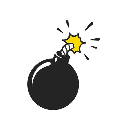 Komische Artbombeillustration der Karikatur. Klassische schwarze Ballgranate lokalisierte Vektorclipart.
