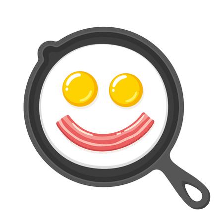 Lustige lächelnde Spiegeleier und Speck in der Bratpfanne. Frühstück Essen Cartoon Vektor-ClipArt-Illustration. Standard-Bild - 85116583