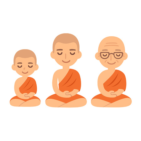 nirvana: Buddhist monks sitting in meditation. Child novice, young adult and senior.