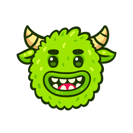 Funny cartoon green monster face. Cute Halloween character icon, isolated vector illustration.