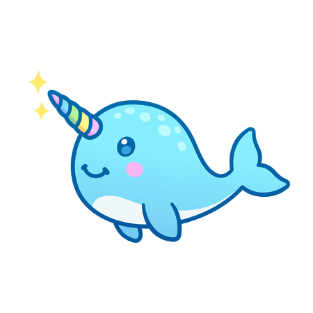 Cute cartoon magic narwhal with rainbow horn, funny unicorn whale drawing.