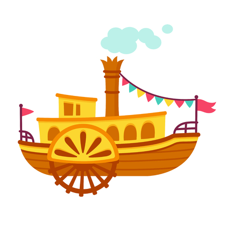 Bright cartoon retro steamboat with side paddle wheel. Old vintage ship vector illustration.