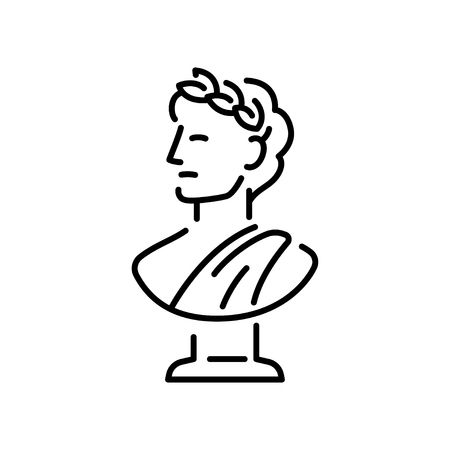 Ancient Greek sculpture with a laurel wreath.