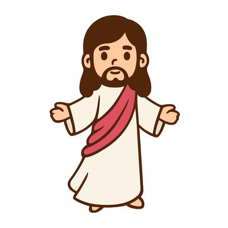 Jezus Christus in schattige cartoonstijl. Stock Illustratie