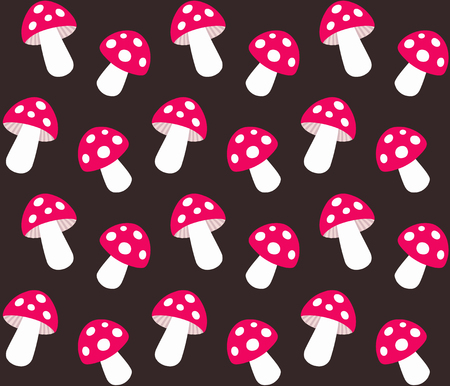 Cartoon Amanita muscaria (fly agaric) seamless pattern. Wild forest mushrooms vector background. Illustration