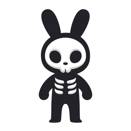 Cartoon Rabbit skeleton character, Death Bunny. Cute and scary Halloween design. Comic style vector illustration.