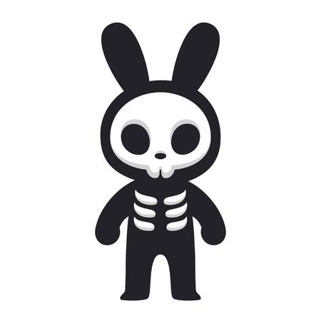 Szkielet Cartoon Rabbit, Death Bunny. Ładny i przerażający projekt Halloween. Ilustracja wektorowa komiks stylu.