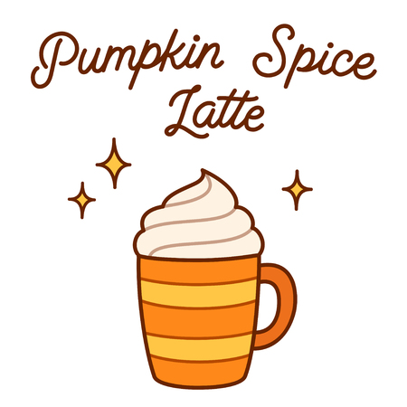 Hand drawn cup of coffee with whipped cream and Pumpkin Spice Latte lettering. Traditional seasonal drink vector illustration.
