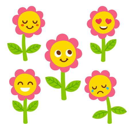 Funny flower with smiley face set, different facial expressions. Cute cartoon illustration. Illustration
