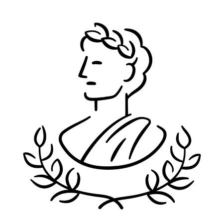 로렐 화 환과 함께 고 대 그리스 남자 프로필 초상화입니다. 클래식 골동품 로고 또는 아이콘. 간단한 현대 벡터 일러스트 레이 션.