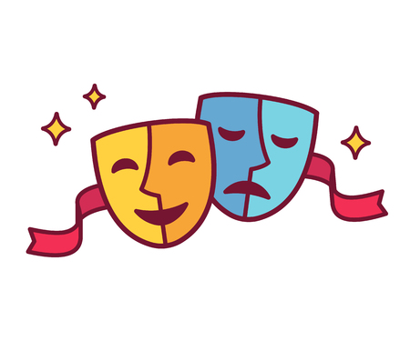 Traditional theater symbol, comedy and tragedy masks with red ribbon. Çizim