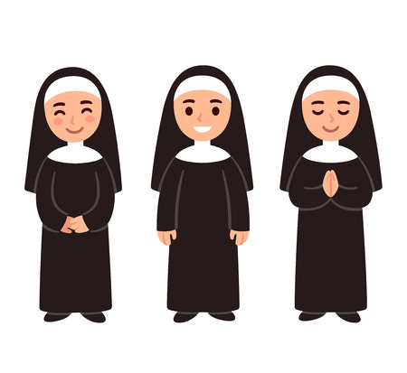 Cute cartoon nun drawing set, smiling and praying. Simple vector illustration.