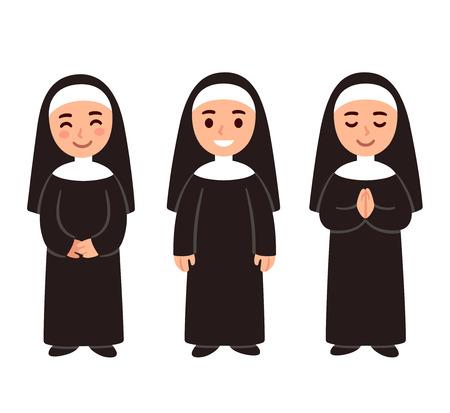 Insieme del disegno della suora sveglia del fumetto, sorridendo e pregando. Illustrazione vettoriale semplice