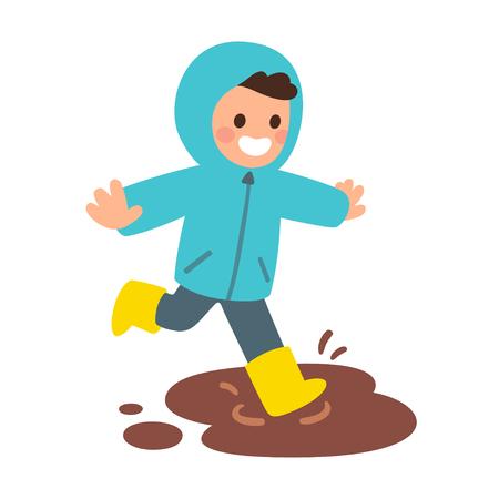 Ragazzo simpatico cartone animato in impermeabile e stivali di gomma che salta in pozzanghere fangose. Bambino felice che gioca nella sporcizia. Illustrazione vettoriale stile piano
