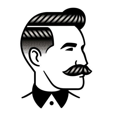 Peinado de hombre retro con bigote, estilo punteado vintage. Salón de peluquería, ilustración de corte de pelo masculino Ilustración de vector