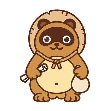 Cute cartoon Tanuki, Japanese raccoon dog. Traditional folklore figurine with classic attributes: straw hat.