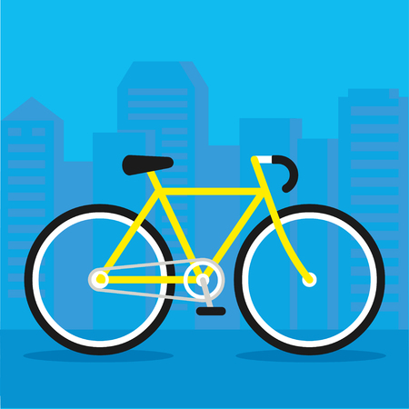 City bicycle flat vector illustration. Urban bike lifestyle, simple and bright design. Imagens - 87610937