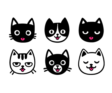 cute cartoon: Cute cartoon cat drawing set, sticking out tongue. Funny hand drawn vector illustration. Illustration