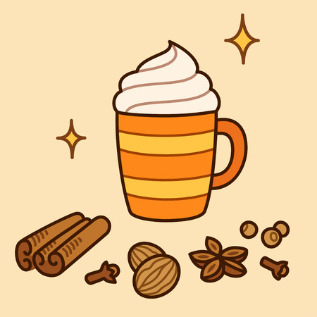 Pumpkin Spice Latte drawing. Hand drawn cartoon cup of coffee with whipped cream and aromatic spices: cinnamon, cloves, nutmeg, anise and allspice. Vector illustration. Vettoriali