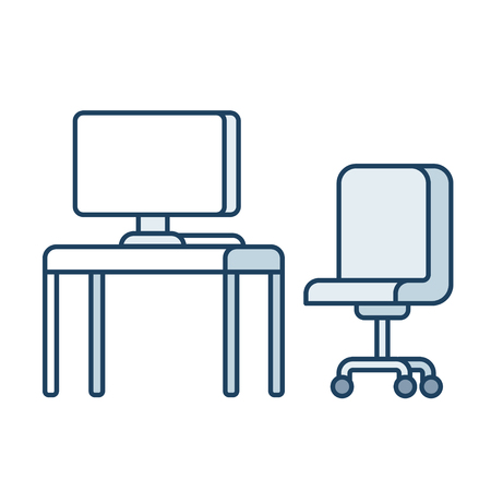 simple: Office desk with computer and office chair, simple line icon style vector illlustration.