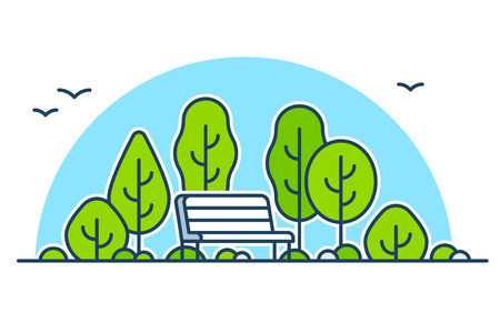 simple: Park bench among green trees, nature and outdoors vector illustration. Simple line icon art style.