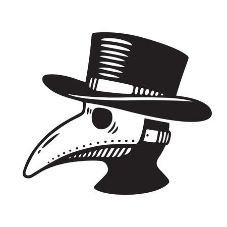 ペストの医者頭プロファイル、鳥マスクと帽子。ビンテージ スタイルの図面、黒と白のベクトル図を彫刻します。  イラスト・ベクター素材