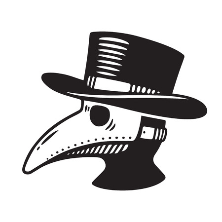 Plague doctor head profile, with bird mask and hat. Vintage engraving style drawing, black and white vector illustration. Stock Illustratie