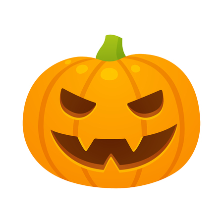 Vector Halloween pumpkin illustration with evil carved face. Cartoon drawing isolated on white background. Illustration