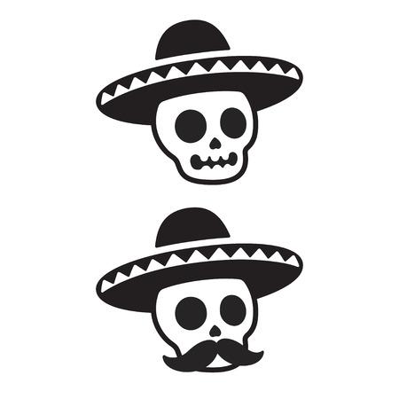 Mexicaanse schedel in sombrero met snor. Dia de los Muertos (dag van de doden) vectorillustratie. Eenvoudig zwart-wit cartoonpictogram of logo.