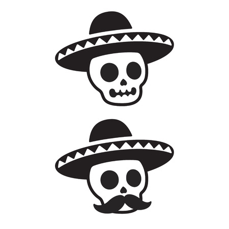 Mexican skull in sombrero with mustache. Dia de los Muertos (Day of the Dead) vector illustration. Simple black and white cartoon icon or logo. Çizim