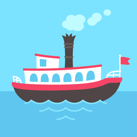 Cute cartoon retro riverboat drawing. Classic American passenger ferry ship vector illustration. 일러스트