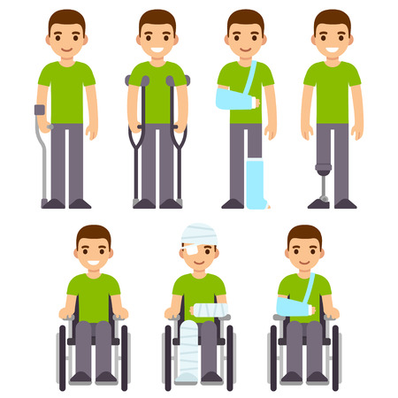 cute cartoon: Injury and trauma cartoon man set. Character with crutches and cast, bandages and wheelchair. Hospital and rehabilitation vector illustration.