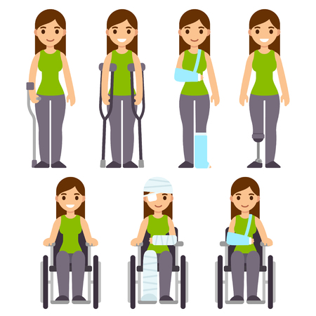Injury and trauma cartoon woman set. Character with crutches and cast, bandages and wheelchair. Hospital and rehabilitation vector illustration.