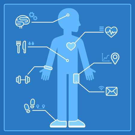 Gekwantificeerde zelf infographics concept. Gezondheids- en activiteitenmonitoring met slimme apparaten en draagbare elektronica. Blauwdruk vector illustratie van de mens en gegevens uit fitness tracker en smartphone.